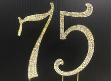 Gold  Rhinestone  NUMBER (75) Cake Topper 75th Birthday Party free shipping