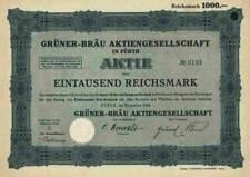 Grüner Bräu AG 1926 Fürth Zirndorf Nürnberg Patrizier Tucher 1000 RM INKA Gruppe