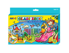 AMOS Peelable Glass Paints and Stain Kit With Outliners 12 Colors