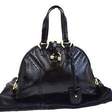 Auth YVES SAINT LAURENT Muse Shoulder Bag Leather Black Padlock Italy 02EB757