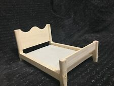 Bed, doll house wooden Furniture, Double Bed for 12 inch dolls, Barbie dollhouse