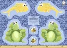 Paul & Sheldon Fishing Buddies SusyBee Cotton Quilt fabric Toy Cutout Panel Frog