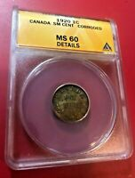 1920 ONE CENT CANADA SMALL CENT ANACS MS 60 DETAILS CORRODED