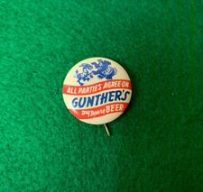 """Gunther'S Beer """"Donkey & Elephant"""" Political Pin - Baltimore, Md - 1 Inch!"""