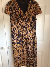 🌈 Laura Ashley Ladies Silk Dress Gold Brown Baroque Size 20 Excellent Condition