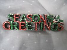 "Seasons Greeting sign wooden hand painted 1.5"" tall 6"" long"