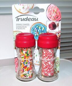 Trudeau Glass Sprinkle Shakers With Lids - Set of 2 - Decorating Shakers - NEW