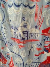 Antique 1920S Graphic Figural Scenic Print Silk Scarf