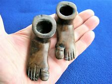 VINTAGE PAIR OF CARVED WOODEN FEET CANDLE HOLDERS