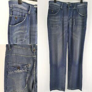 Firetrap 100% Cotton Light Blue Denim Jeans 34W 32L Patch Pocket Button Fly