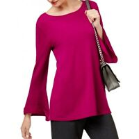Alfani Womens Magenta Casual Bell Sleeves Scoop Tunic Top Shirt Size Small $59.5