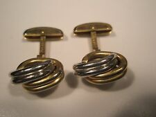 Hickok Silver & Gold Tone Knot Vintage Quality Cuff Links gift