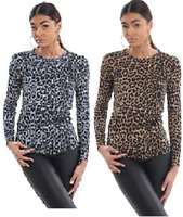 Ladies Leoaprd Print Jersey lightweight  Casual T-Shirt Top Casual UK Size 8-26
