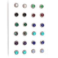 925  Sterling Silver Lapis Lazuli & Choose Gemstone 1 Pair Stud Earrings C-8153
