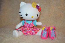 "Hello Kitty Pop Large Blip Sanrio Toy 13"" Hard Vinyl Plastic Doll w dress, boots"