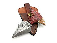 UD CUSTOM HANDMADE 1095 DAMASCUS STEEL  FULL TANG HUNTING KNIFE 475