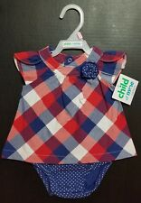 Child Of Mine Baby Infant Girls' Red Blue Plaid Polka Dot 0-3 m 1 Pc Outfit New