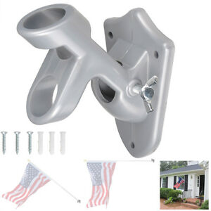 """2 Positions 1"""" Flag Pole Bracket Wall Mount Flagpole Holder Home Outdoor"""