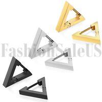 Men Women Unisex Fashion Stainless Steel Triangle Charm Huggie Earrings 2PCS