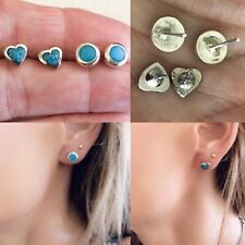 Silver Turquoise Pair Of Stud Earrings Southerstern Studs