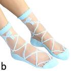 Womens Girls Silk Ruffle Lace Ankle Socks Ultrathin Sheer Cotton Elastic Pop