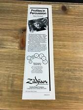 1988 VINTAGE 3X1 PRINT Ad FOR ZILDJIAN WITH RIKKI ROCKETT POISON CYMBAL SET-UP