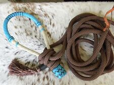 Natural Rawhide TEAL Bosal & Nylon Mecate with Tassel For Bitless Hackamore