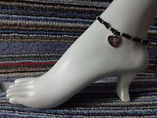 ankle bracelet beads anklet stretchy Heart Cross silver tibet alloy charm