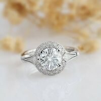 1 Ct Off White Moissanite Round Cut Antique Halo Engagement Ring 9K White Gold