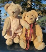 VINTAGE TEDDY BEAR GIRL BOY BABY DOLL PLUSH PAIR LOT OF 2 ARTIST DORIS KING 14""