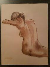 Dessin Nu Féminin - Pastel sur papier brun dim:50*65 cm - Signé J.F Delooz
