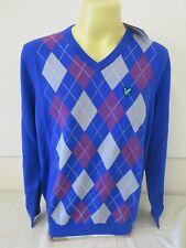"Lyle & Scott Club Golf v Cuello Argyle pillover Duke Jersey Xxl Azul 2XL nuevo 47.2"""