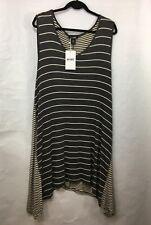 NWT Relaxx Womens Tunic Dress 2XL Sleeveless Gray White Stripe - Flawed