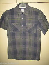 Fat Face ~ Men's Grey & Navy Blue Checked Cotton Short Sleeved Shirt Size S 40""