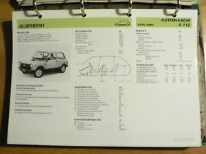 AUTOBIANCHI A 112 1975-81 INFO TECHNICAL INFORMATION CAR AUTO  OLYOO9