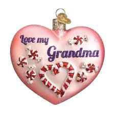 """Grandma Heart"" (Love my Grandma) (30043) Old World Christmas Glass Ornament"