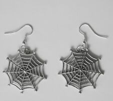 Earrings #116 Pewter spider web COBWEB Goth (30mm)