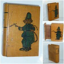 Antique Treen Wood Book Secret Drawer Puzzle Box Folk Art comical Policeman Rat