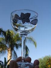 Libbey Rock Sharpe Platinum Leaves Pattern 4 Wine Glasses Goblets, Silver Leaves