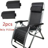 2 X Outdoor Folding Lounge Chairs Pillow Beach Patio Recliner Portable