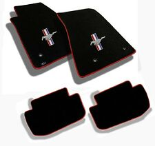 NEW! 1964-1973 Black Floor Mats Mustang Pony Bars Embroidered Logo W/red Binding