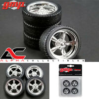 GMP 18937 1:18 SET OF 4 5 SPOKE POLISHED WHEELS & TIRES/RIMS STREET FIGHTER
