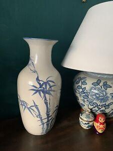India Jane /Oka style Tall Chinoiserie Hand Thrown Blue & white porcelain vase