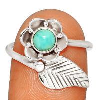 Genuine Larimar - Dominican Republic 925 Silver Ring Jewelry s.8 BR9313 234C XGB