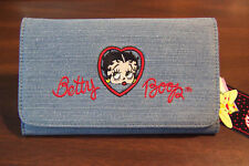 BETTY BOOP LONG BLUE EMBROIDERED HEAD HEART CLUTCH WALLET NEW