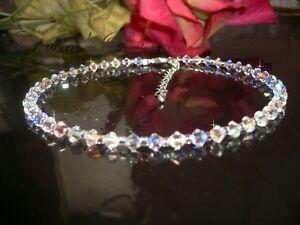 "10"" Swarovski Crystals  Element AB Aurora Borealis Ankle Anklet Bracelet"