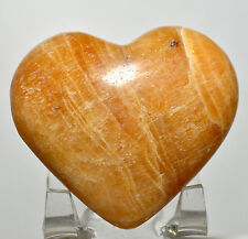 57mm Yellow Orange Aragonite Heart Banded Crystal Natural Mineral Stone - Peru