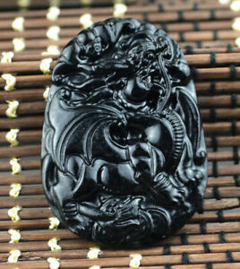 Statue  Amulet jadeite natural pendant black green jade beast(麒麟) necklace