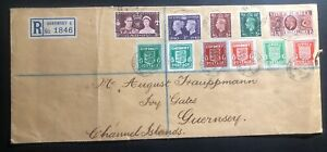 1942 Guernsey England Blue banknote paper N4 N5 Express Mail Cover Domestic Used