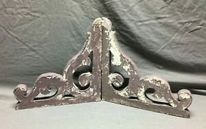 Pair Antique Gingerbread Roof Corbel Brackets Shabby VTG Purple Chic 276-21B